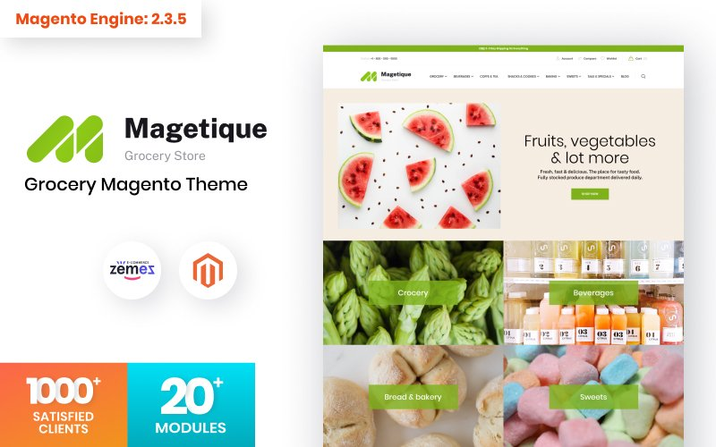 Magetique Grocery Online Template Tema Magento №123159