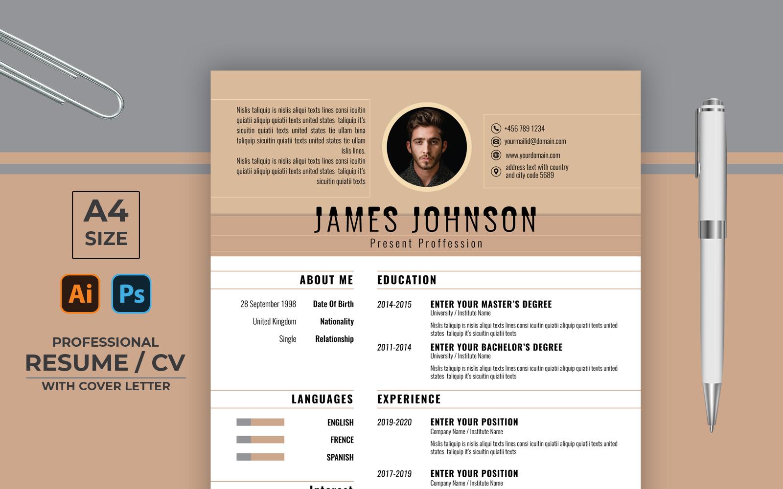"Šablona pro životopis ""Board Color Professional CV"" #123161"