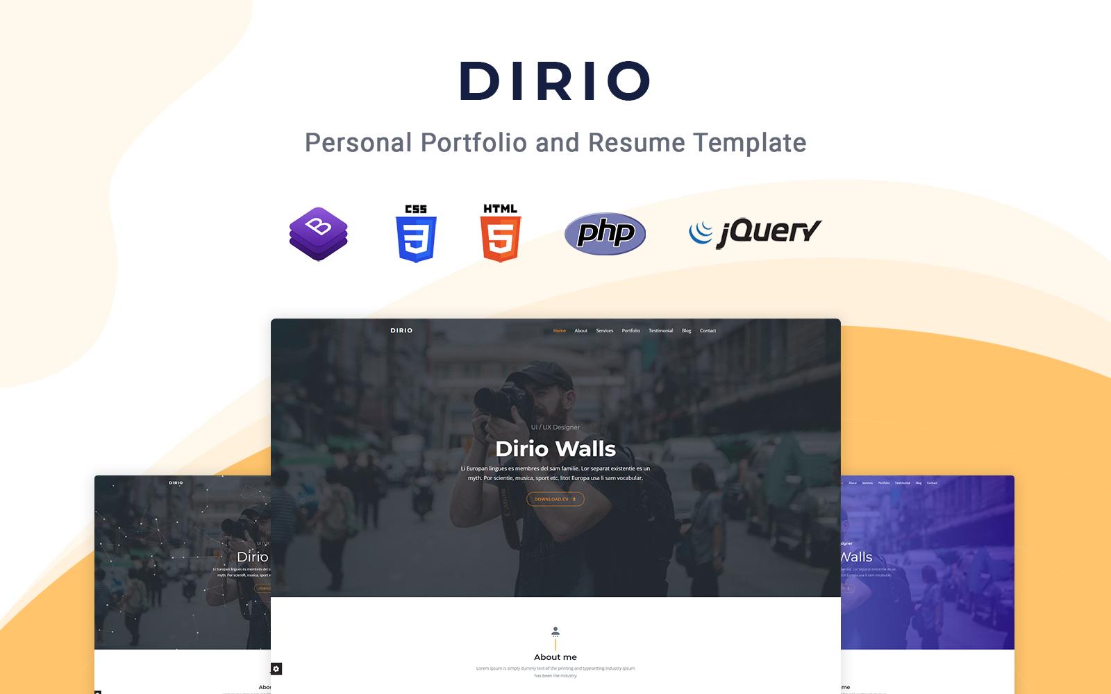 Dirio - Responsive Landing Page Template
