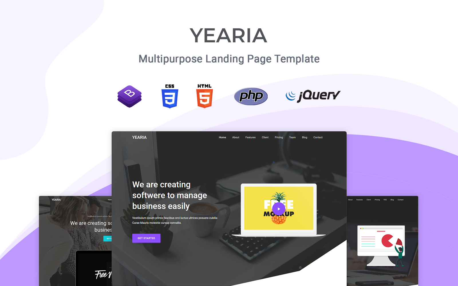 Yearia - Responsive Landing Page Template