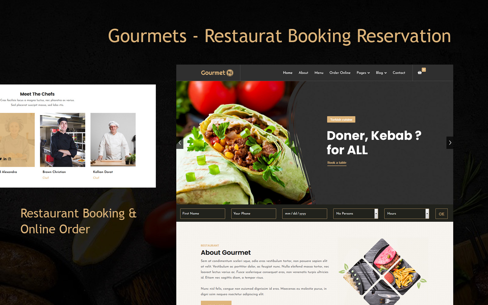 """Gourmets - Restaurat Booking Reservation"" Responsive Joomla Template №123376"