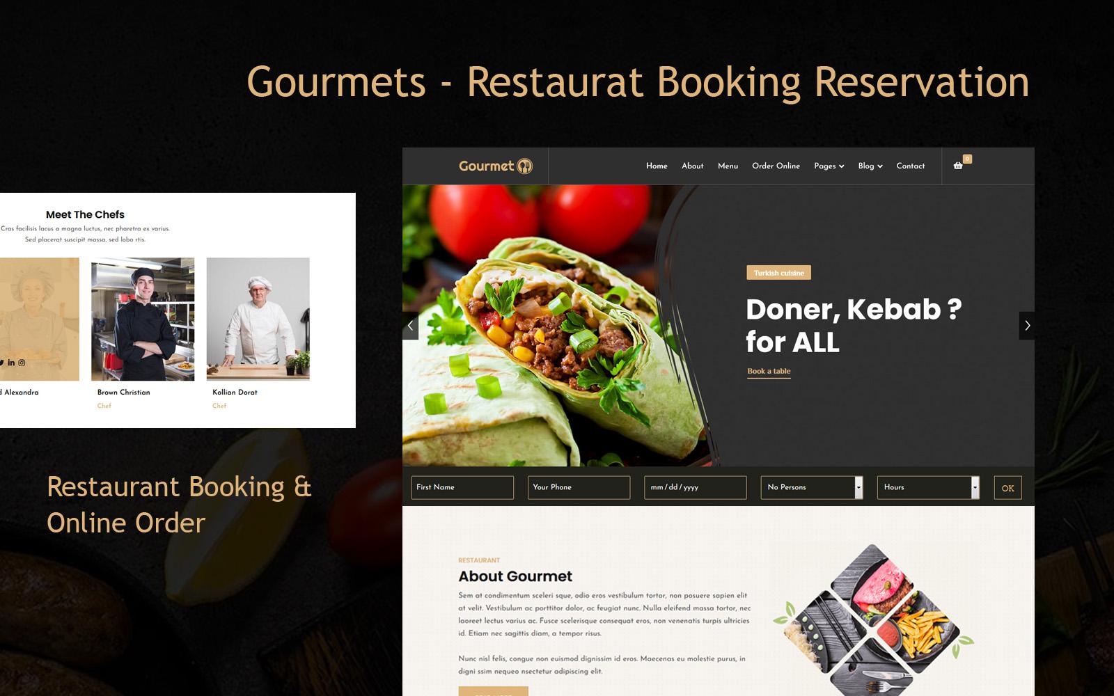 """""""Gourmets - Restaurat Booking Reservation"""" Responsive Joomla Template №123376"""