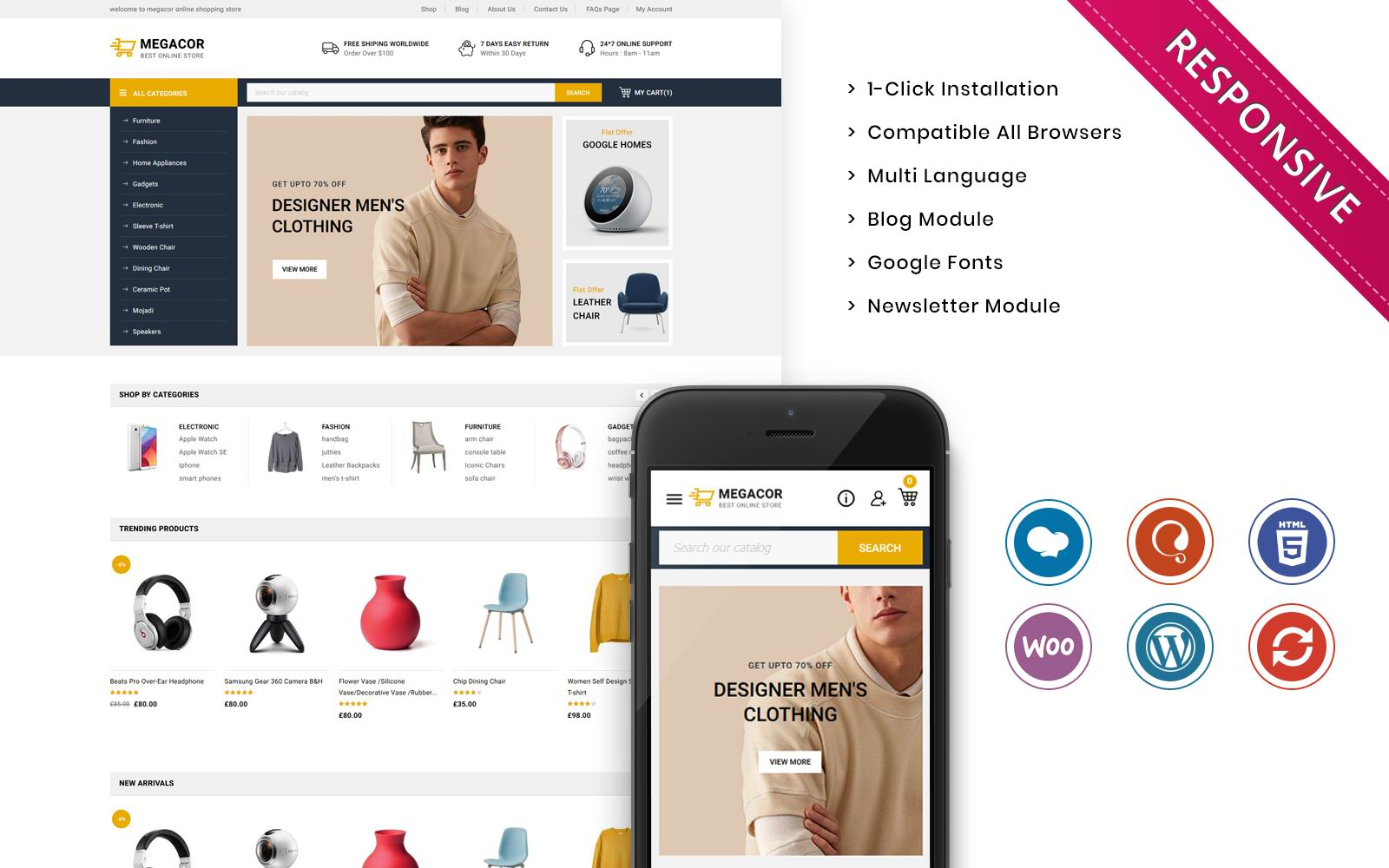 """Megacor - The Fashion Store Responsive"" thème WooCommerce adaptatif #123381"
