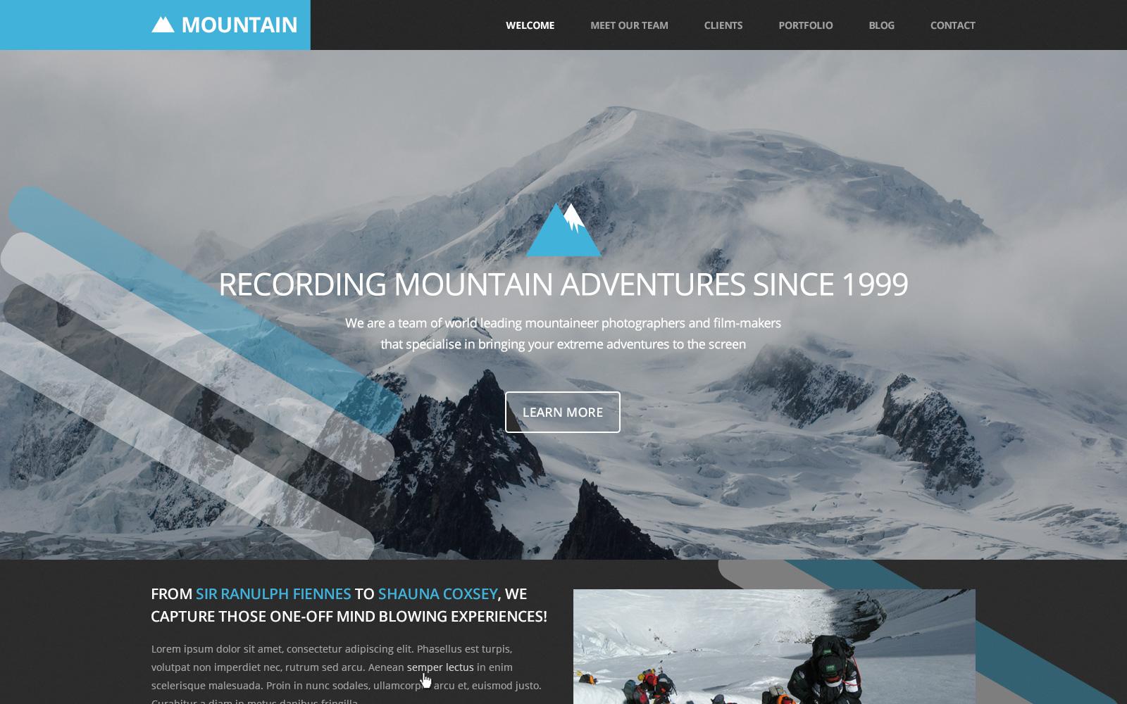 """""""Mountain website PSD"""" PSD Template №123370"""