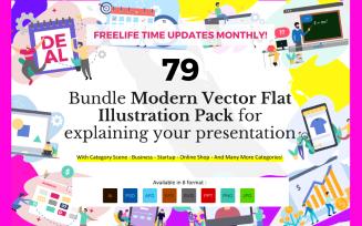 Bundle 79 Pack Flat Illustration - Vector Image