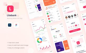 Litebank - Banking Wallet iOS App Design UI Figma PSD Template
