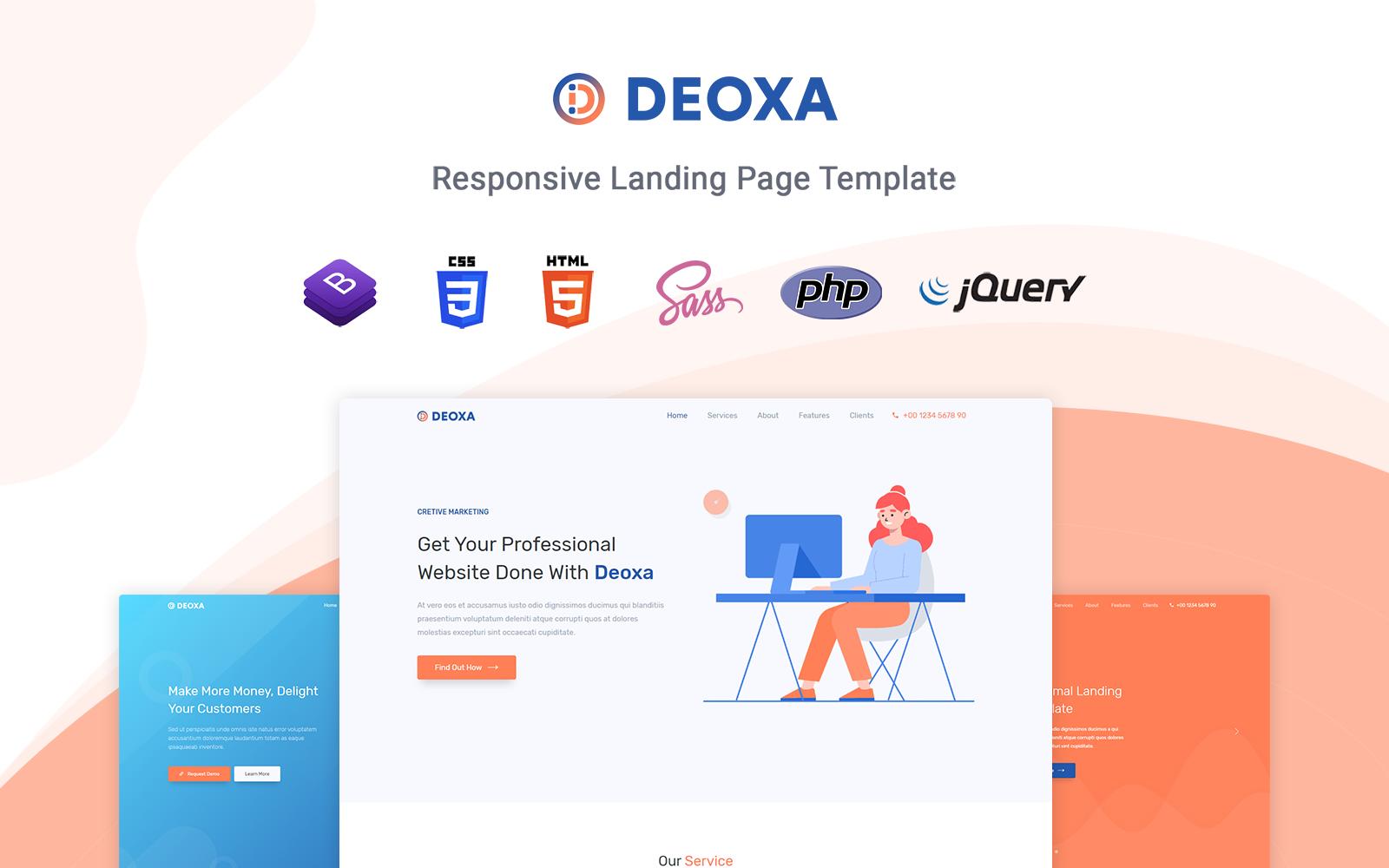 """""""Deoxa - Responsive"""" - адаптивний Шаблон цільової сторінки №123627"""