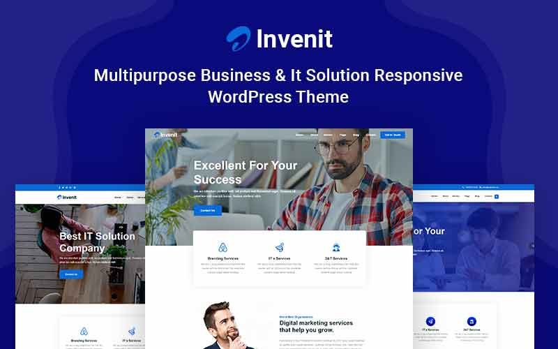 """Invenit - Multipurpose Business and IT Solution Responsive"" Responsive WordPress thema №123624"