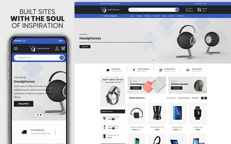 """Light Electron - The Electronics & Mobile Premium"" Responsive Shopify Thema №123626"