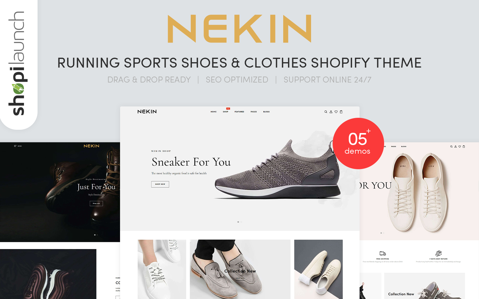 """Nekin - Running Shoes, Sports Shoes & Clothes"" 响应式Shopify模板 #123621"