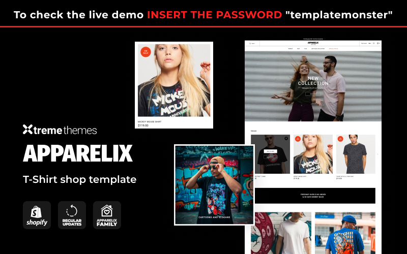 Responsivt Apparelix T-shirt Store Template Shopify-tema #123630
