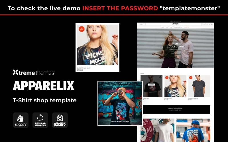 "Tema Shopify Responsive #123630 ""Apparelix T-shirt Store Template"""