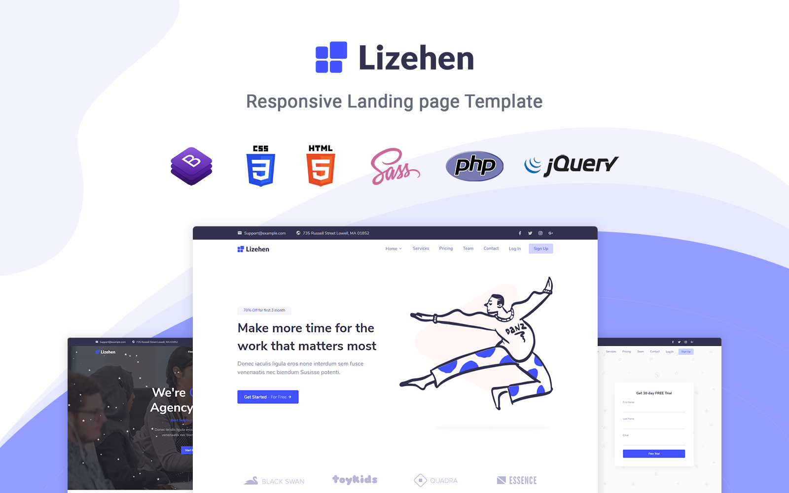 "Template di Landing Page Responsive #123625 ""Lizehen - Responsive"""