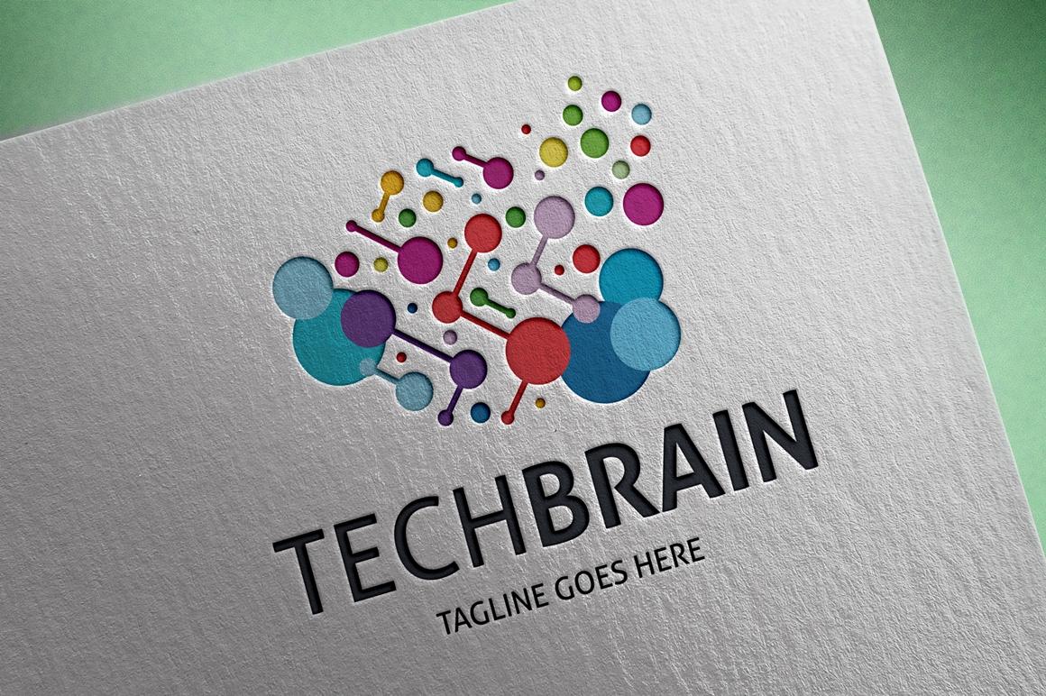 Tech Brain Unika logotyp mall #123708