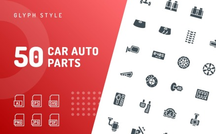 Car Auto Parts Glyph Icon Set
