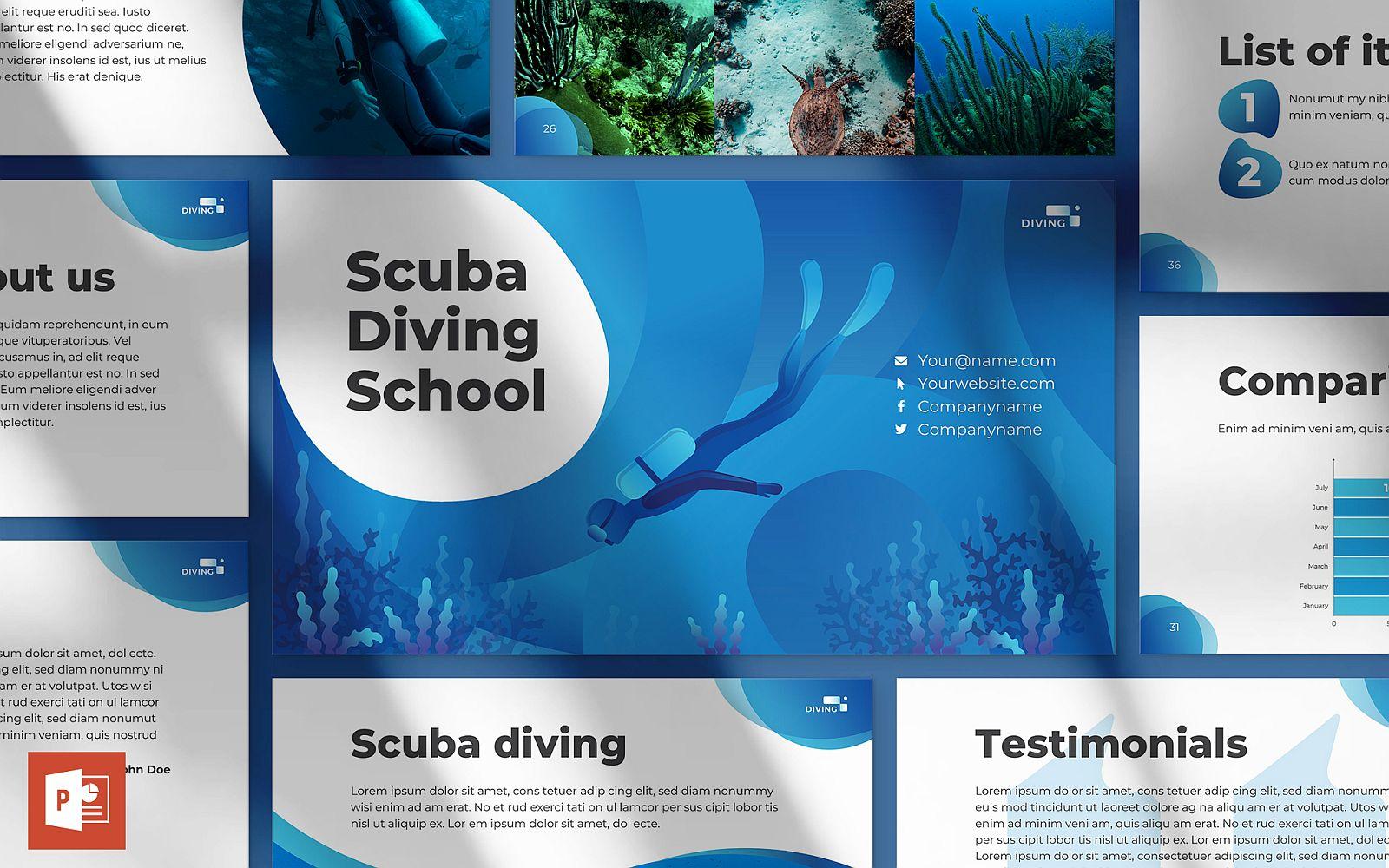 """Diving School Presentation"" - PowerPoint шаблон №123870"