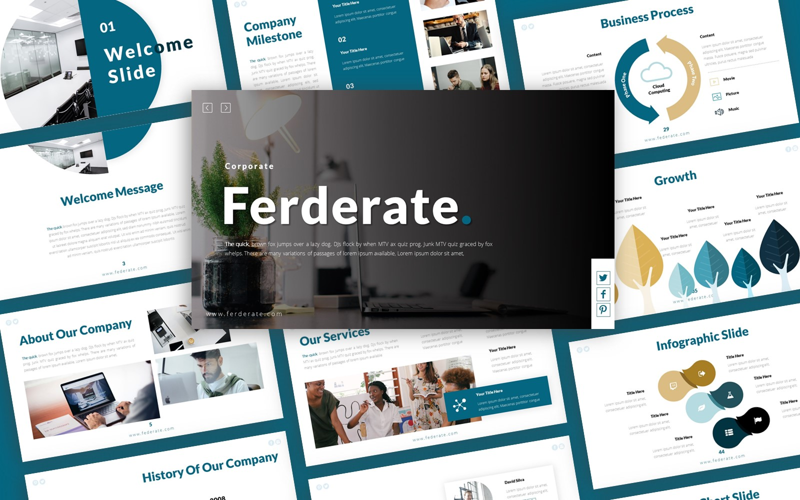 """Ferderate Corporate Presentation"" PowerPoint Template №123885"