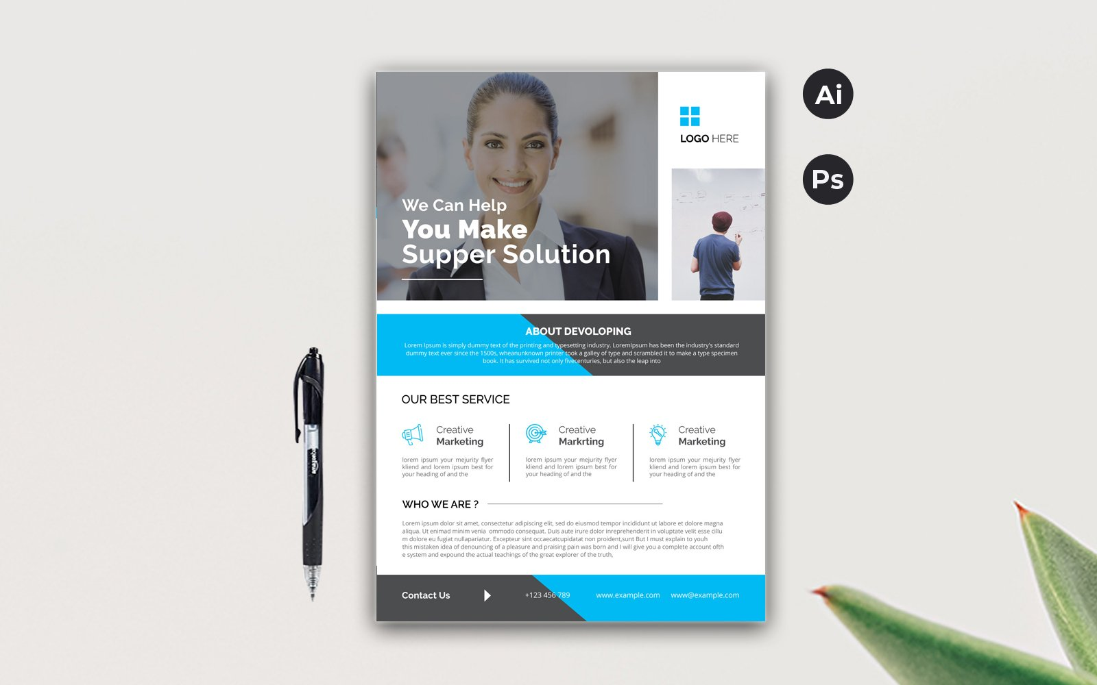 """Simple Flyer"" Bedrijfsidentiteit template №123810"