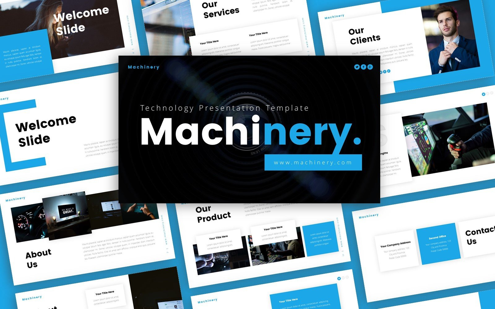 Szablon PowerPoint Machinery Technology Presentation #123887