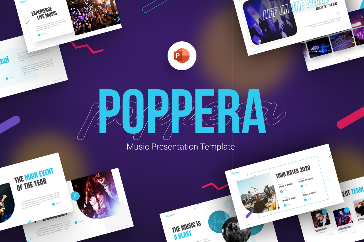 Poppera Music Presentation PowerPoint Template