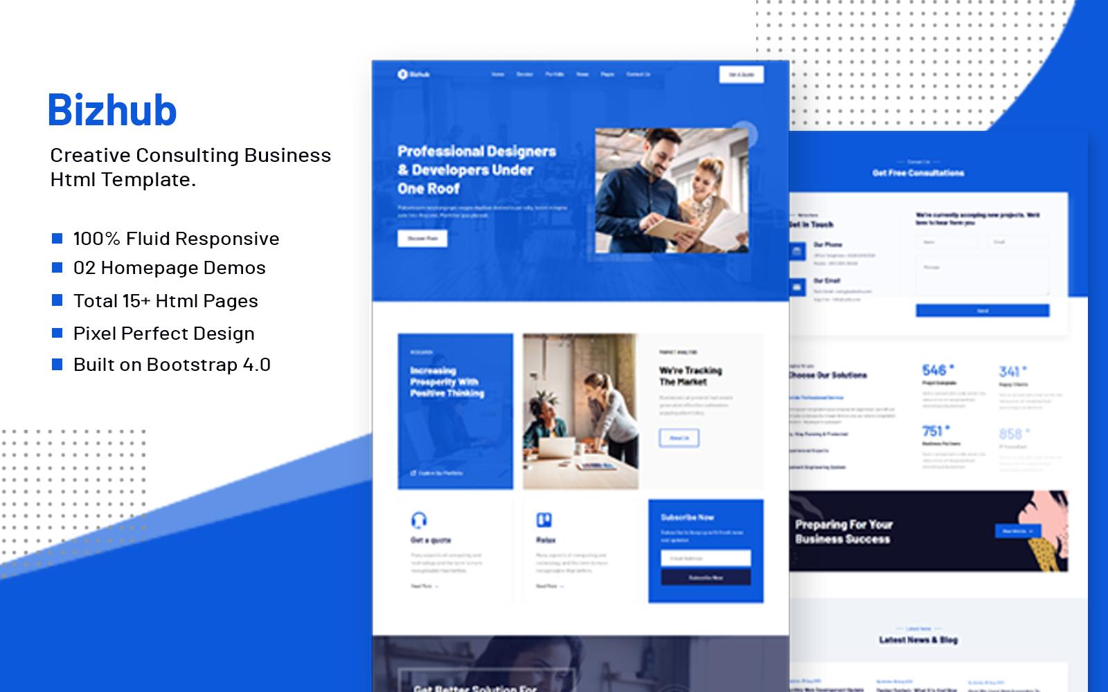 """Bizhub - Business Multipurpose Bootstrap 4"" - bootstrap Шаблон сайту №123958"
