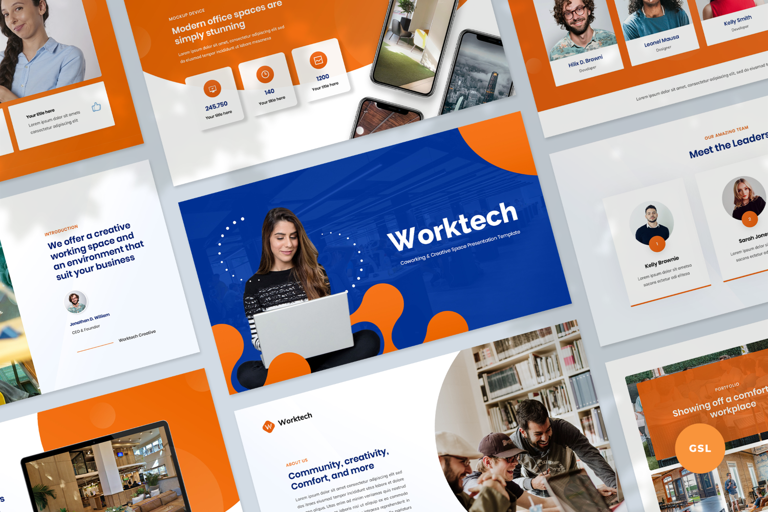 """""""Coworking and Creative Space Presentation Template"""" Google Slides №123923"""