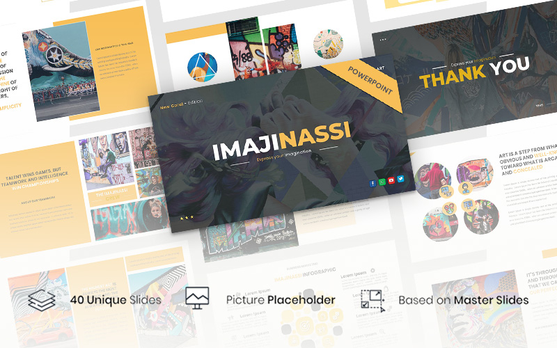 """Imajinassi – Creative Business"" - PowerPoint шаблон №123905"
