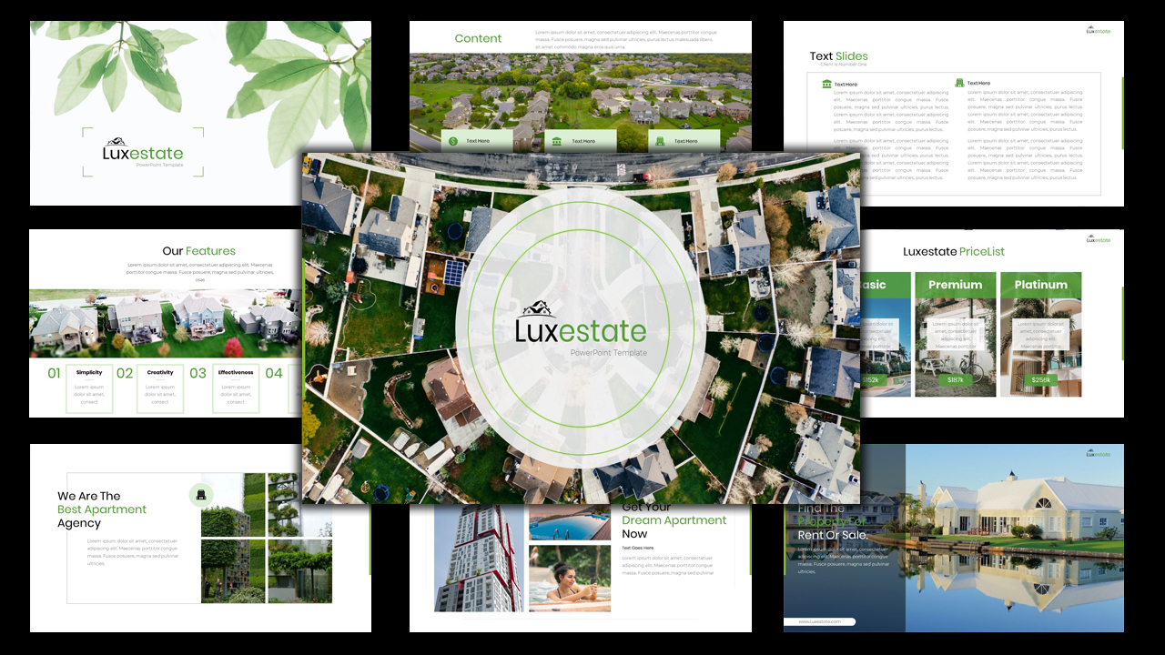 """Luxestate - Real Estate Agency"" 奖金Google Slides #123930"