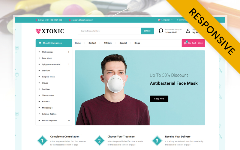 "Modello OpenCart Responsive #123953 ""Xtonic - Medical Store"""