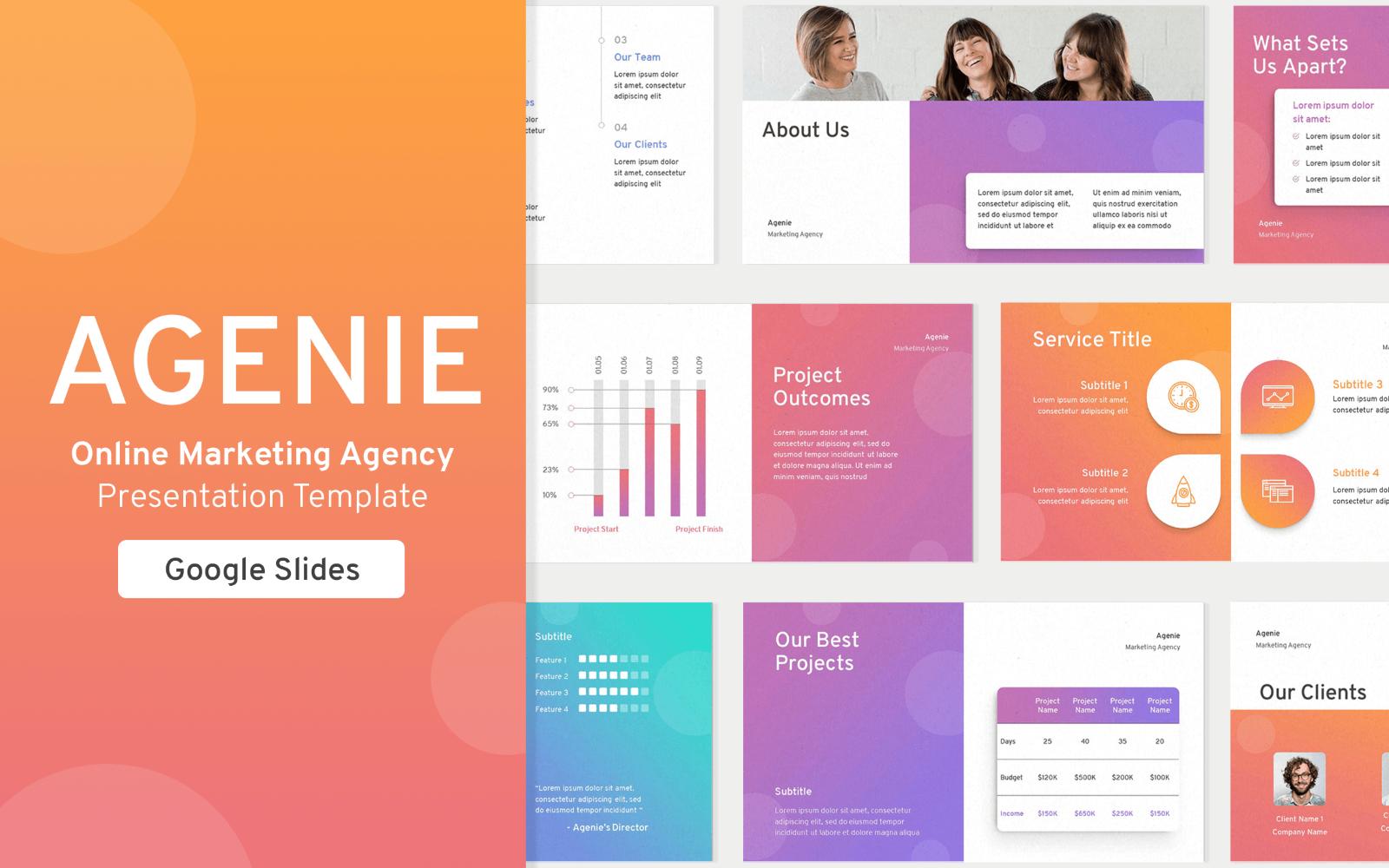 """""""Online Marketing Agency Presentation Template"""" - Google Slides №123926"""