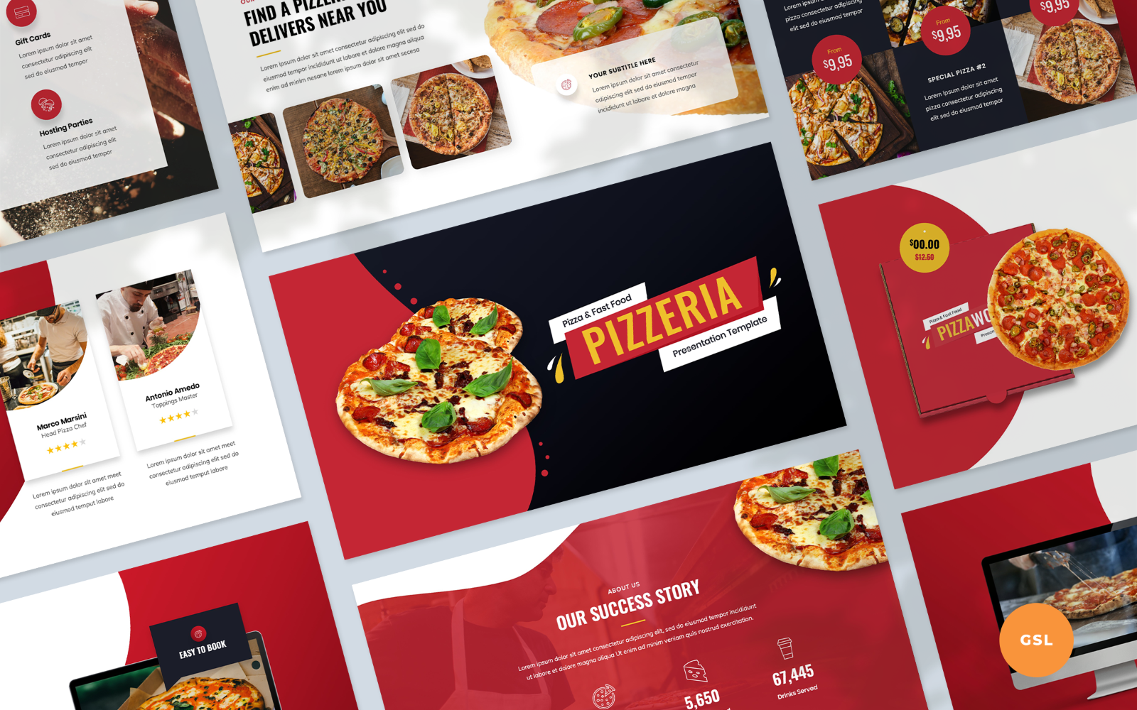 """""""Pizza and Fast Food Presentation Template"""" - Google Slides №123940"""