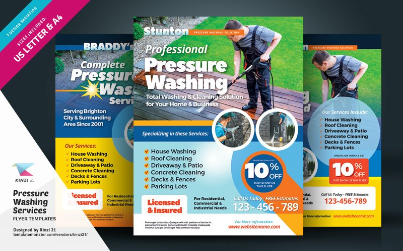 """Pressure Washing Services Flyer"" 企业设计模板 #123984"