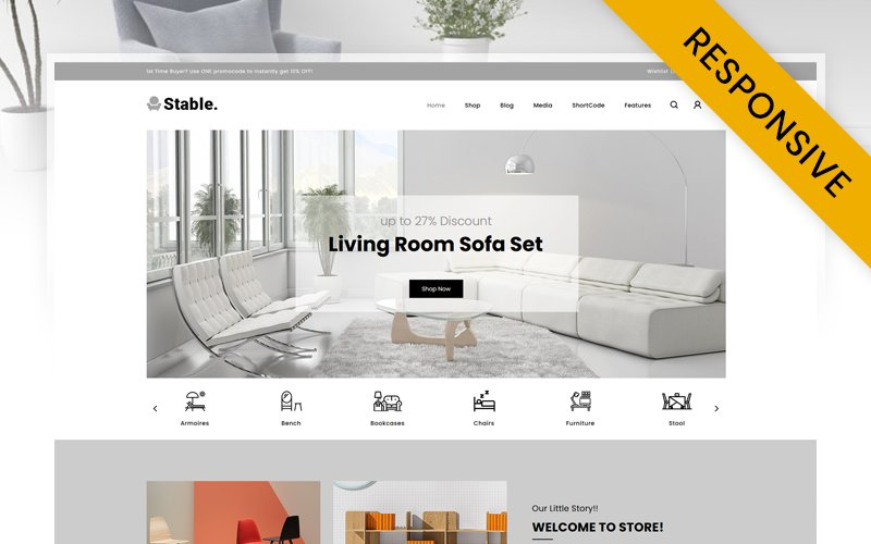 "Tema WooCommerce ""Stable - Modern Furniture Store"" #123951"