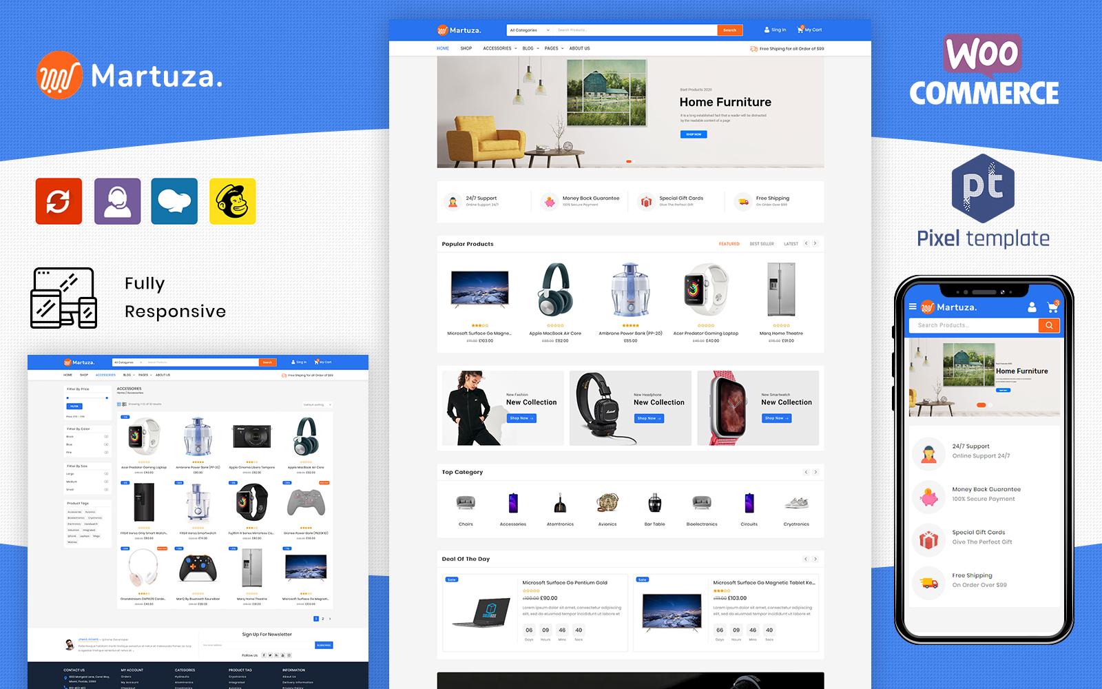 "Template WooCommerce Responsive #123967 ""Martuza - Multipurpose Electronic Store"""