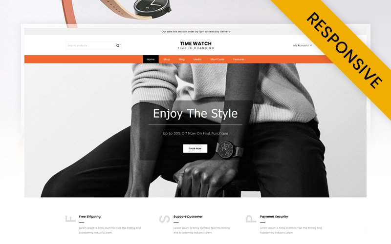 """Time Watch Store"" Responsive WooCommerce Thema №123954"