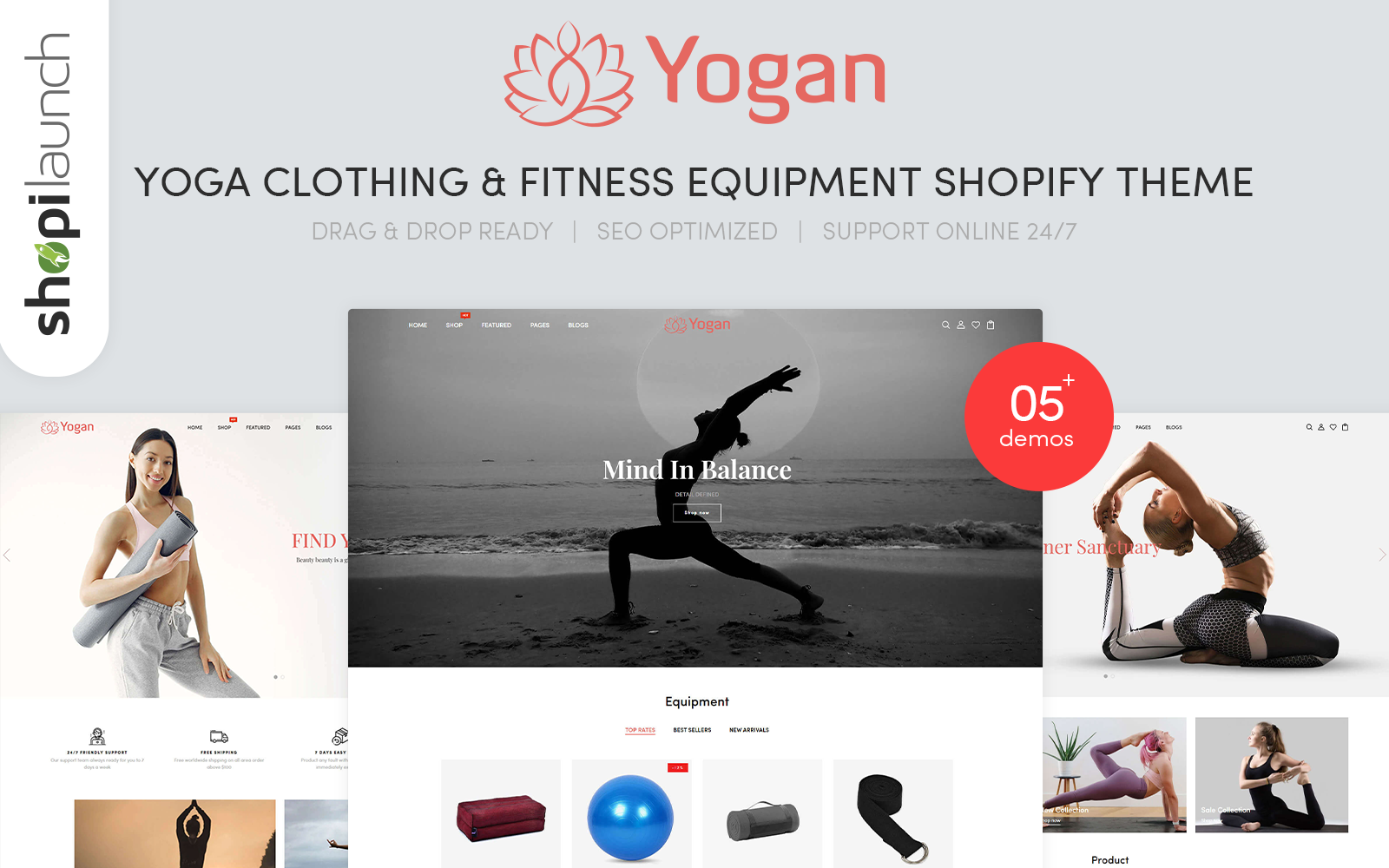 """Yogan - Health Meditation And Yoga"" 响应式Shopify模板 #123961"