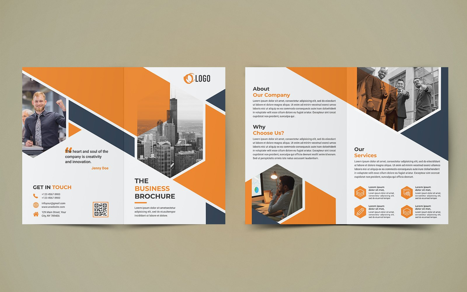 Business Bifold Brochure Design Corporate Identity Template