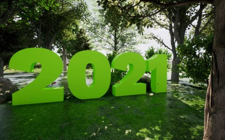 2021 With Green Trees Background Stock Video