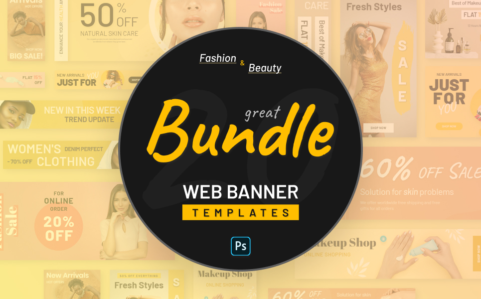 """""""Fashion And Beauty PSD Web Banners"""" Responsive PSD Template №124208"""