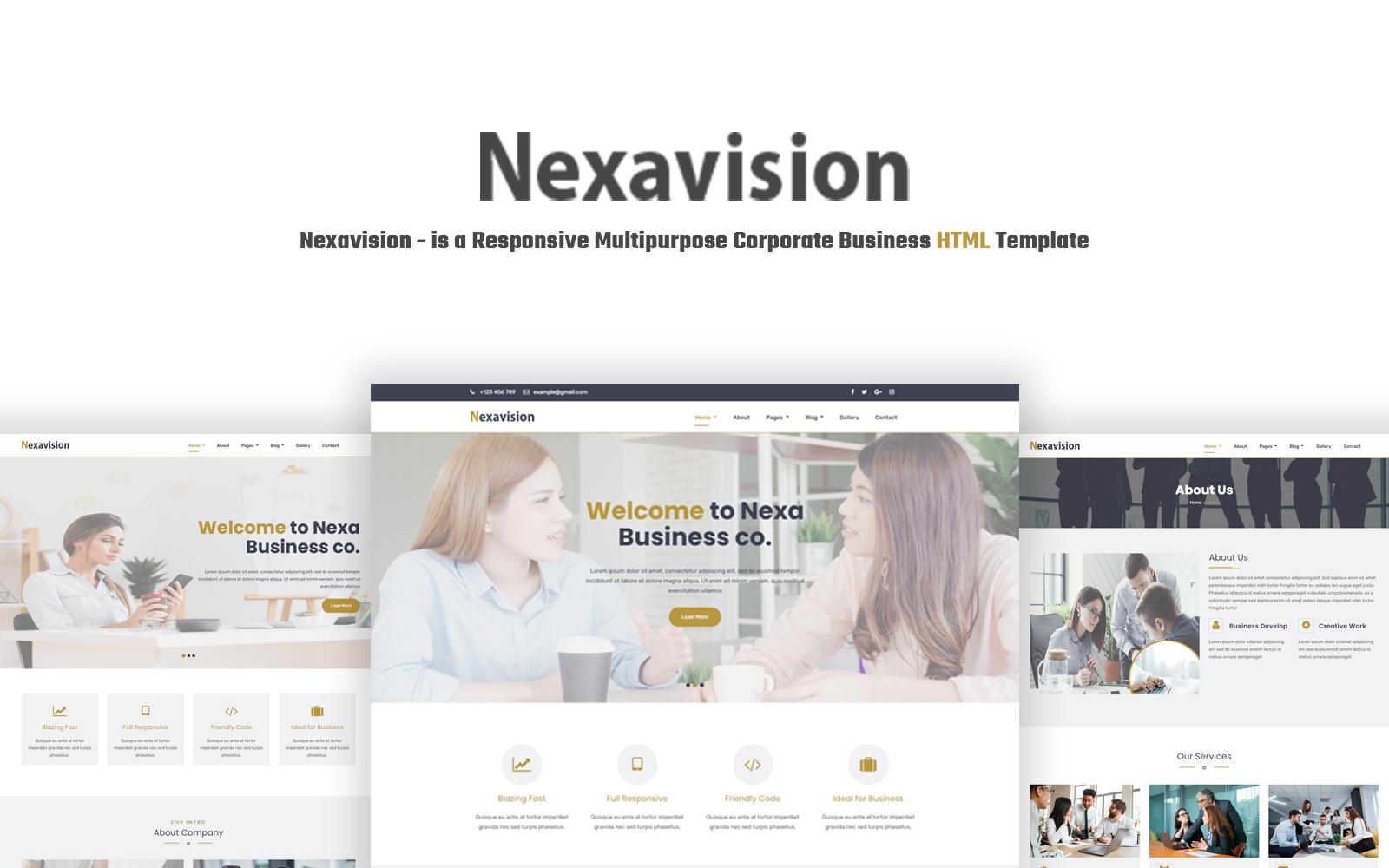"""Nexavision - is a Responsive Multipurpose Corporate Business ."" Responsive Website template №124205"