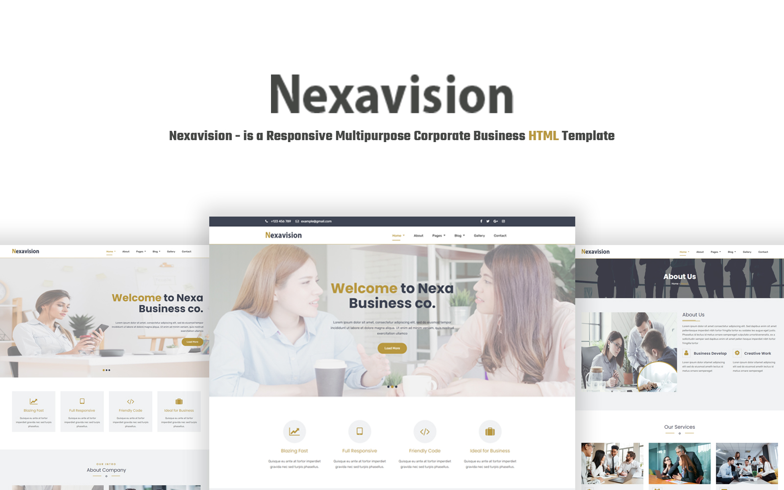 """Nexavision - is a Responsive Multipurpose Corporate Business ."" 响应式网页模板 #124205"