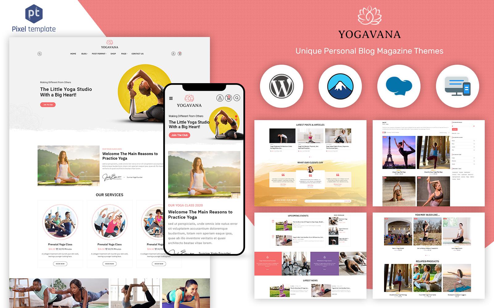 """Yogavana - Yoga, Fitness & Meditation"" - адаптивний WordPress шаблон №124204"