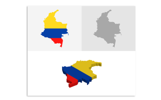 3D and Flat Colombia Map