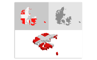 3D and Flat Denmark Map