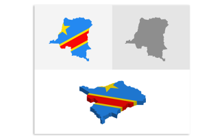 3D and Flat Democratic Republic of the Congo Map