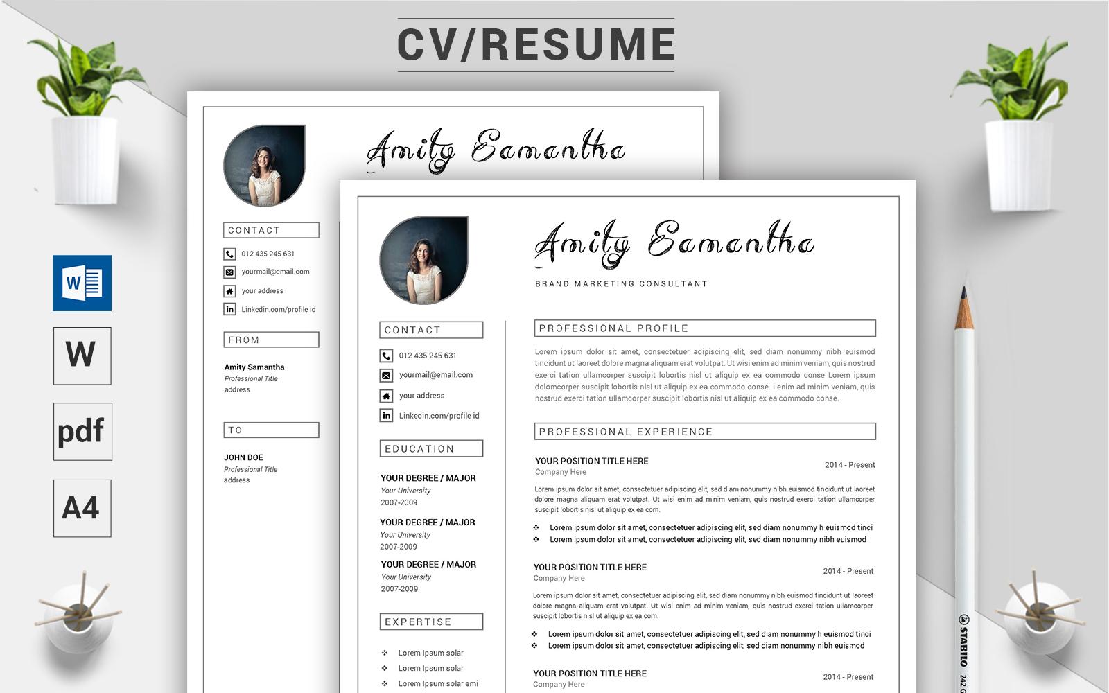 """""""Amity Samantha - CV"""" modèle de CV Premium #124496"""