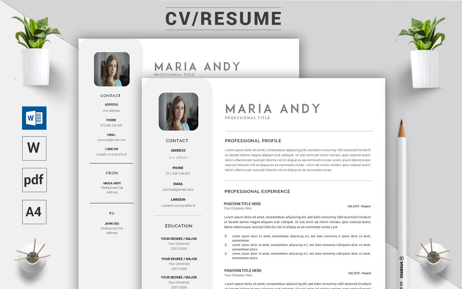 "Lebenslauf-Vorlage namens ""Maria Andy - CV"" #124493"