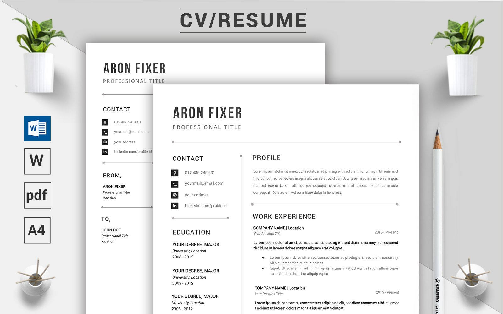 """Aron Fixer - CV"" modèle de CV Premium #124500"