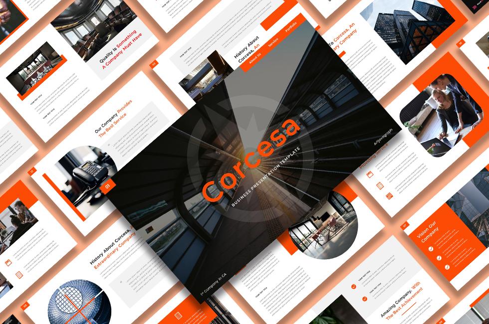 """""""Corcesa – Business"""" modèle PowerPoint  #124504"""