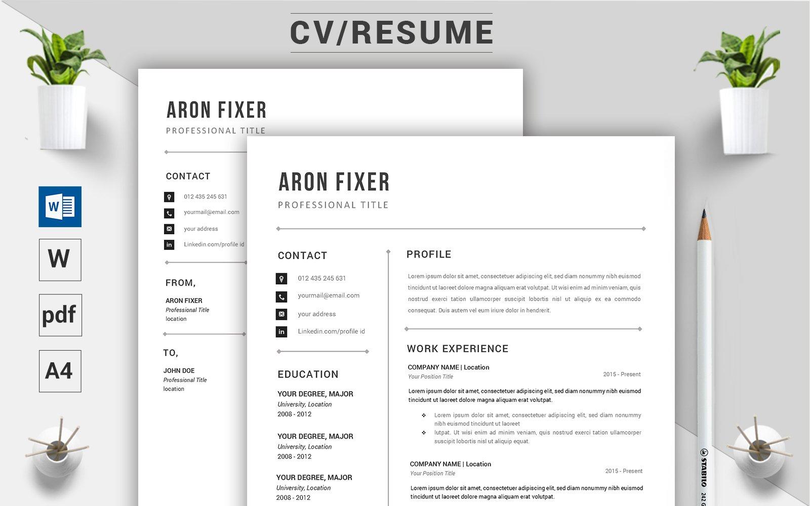 "Lebenslauf-Vorlage namens ""Aron Fixer - CV"" #124500"
